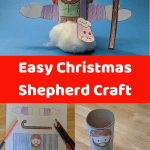 Easy Christmas Shepherd craft for kids using cardboard tube and free printable template. Ideal for sunday school or preschool while learning about the Shepherds visit to Jesus.