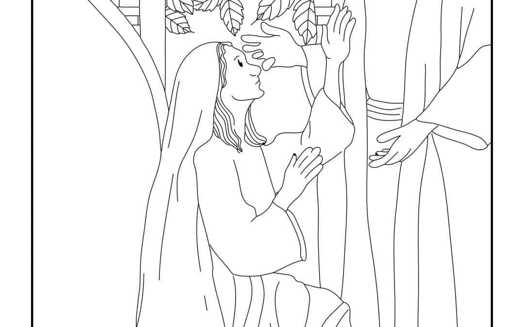 The Angel Appearing to Mary Luke 1:26-38 – Free Colouring Page