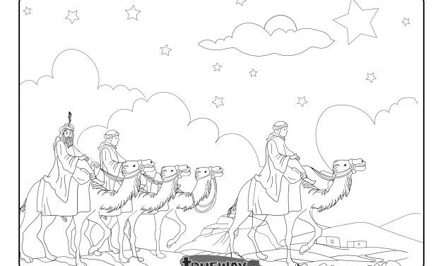 Wise men follow the star – Matthew 2:1-12 – Free colouring page