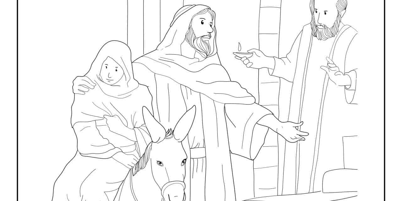 No room in the Inn –Luke 2:7 – Free colouring page