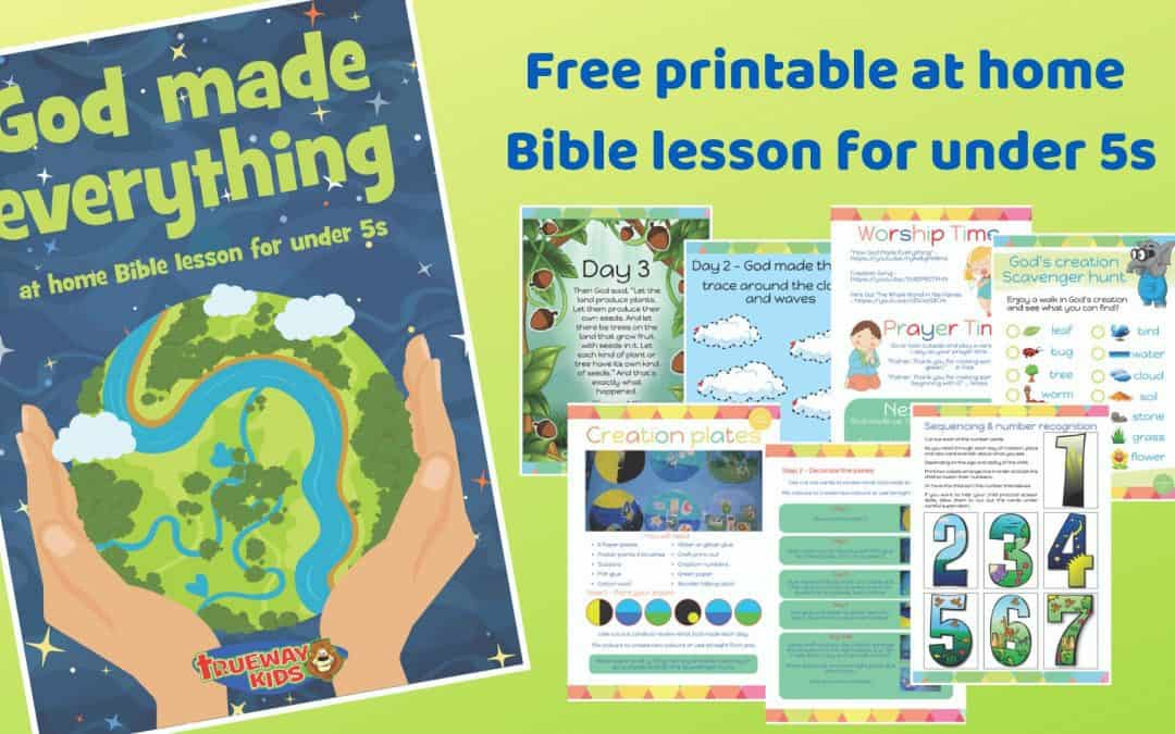 God made everything - Free printable at home Bible lesson for under 5s