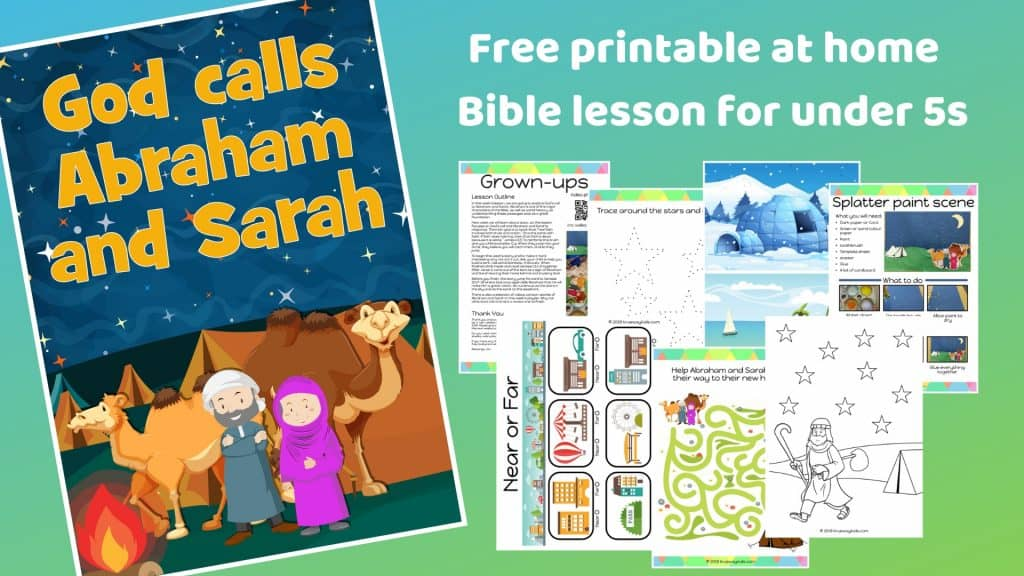 God calls Abraham and Sarah - Free printable at home Bible lesson for under 5s