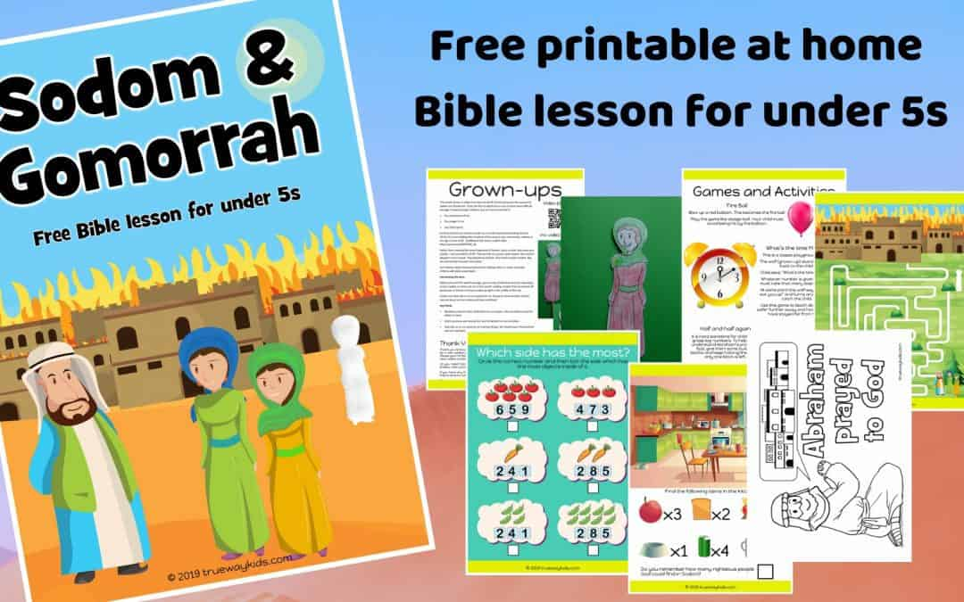Sodom and Gomorrah preschool Bible lesson. Learn about praying for others & running from sin. Games, Crafts, Activities, songs, lesson, worksheets and more.