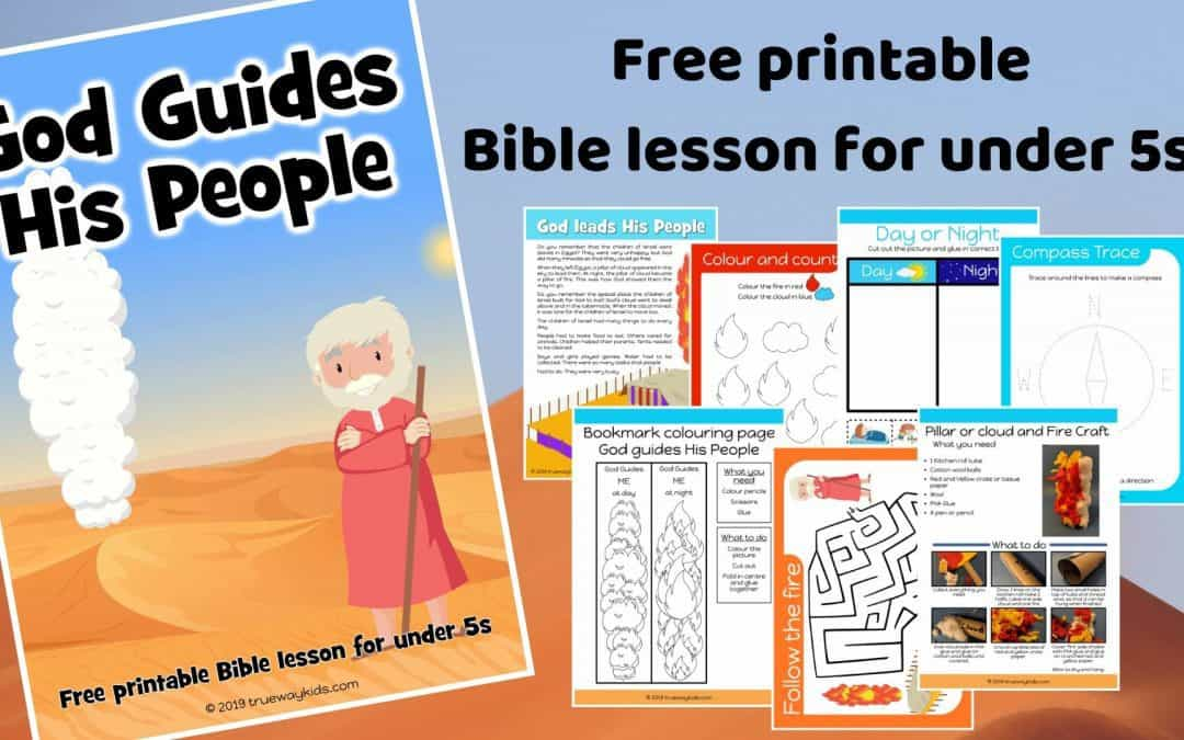 God guides his People preschool Bible lesson. Learn about the Pillar or cloud and of fire. Games, Crafts, Activities, songs, lesson, worksheets and more. Free printable lesson.