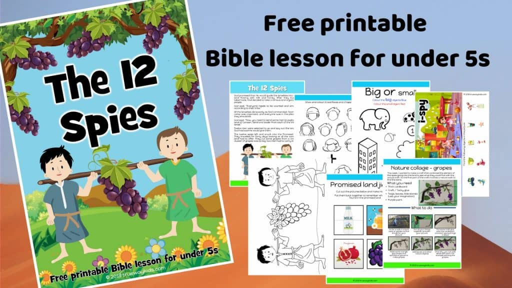 The 12 spies and the promised land. Learn about trusting God. Games, Crafts, Activities, songs, lesson, worksheets and more. Free printable lesson.