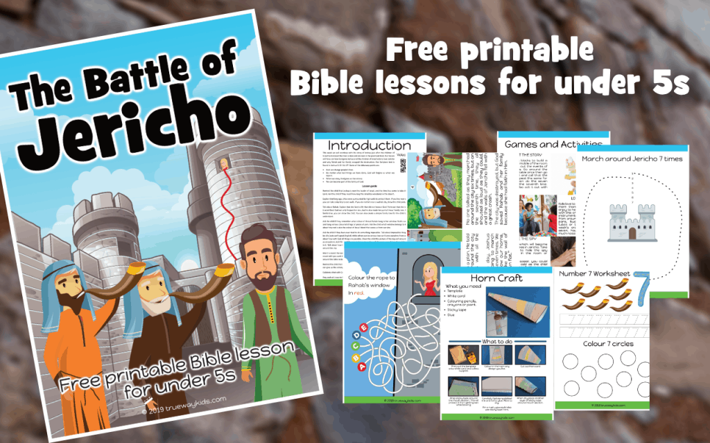 The Battle of Jericho Bible lesson, front cover and worksheets