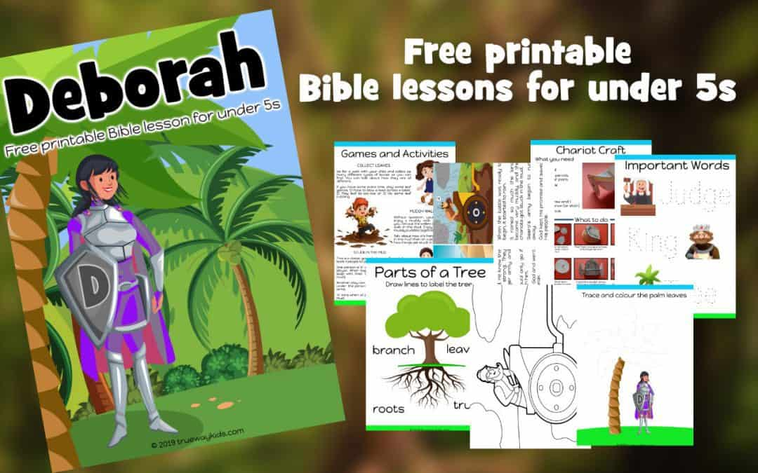 Picture of lesson cover and example Bible worksheets for preschoolers