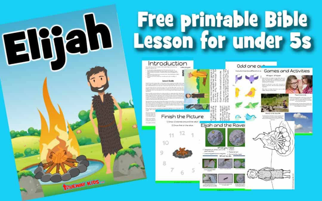This free printable preschool Bible lesson covers the life of the prophet Elijah. God providing food and water. Elijah and the Widow, The prophets of Baal and The quiet whisper. Includes worksheets, coloring pages, crafts and more. Based on 1 Kings 17-19