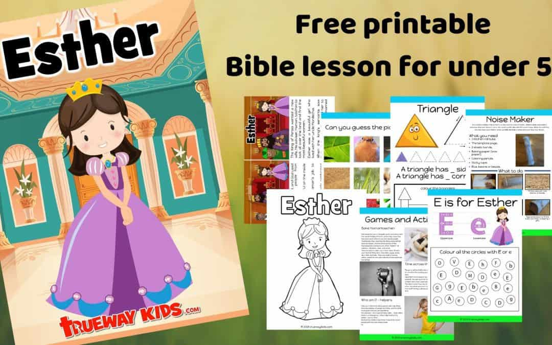 Learn about the brave Queen Esther who trusted God. Free printable bible lesson including story, worksheets, coloring pages, crafts and more.