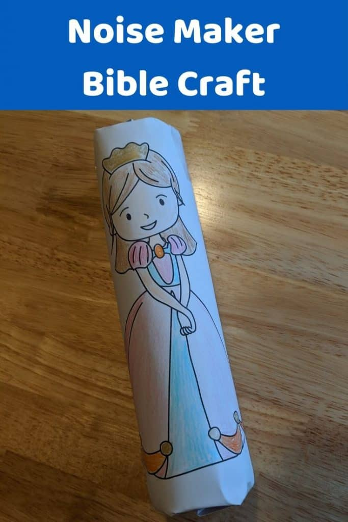 Easy to make Noise maker craft for Esther Bible lesson or Purim. Free printable template included.
