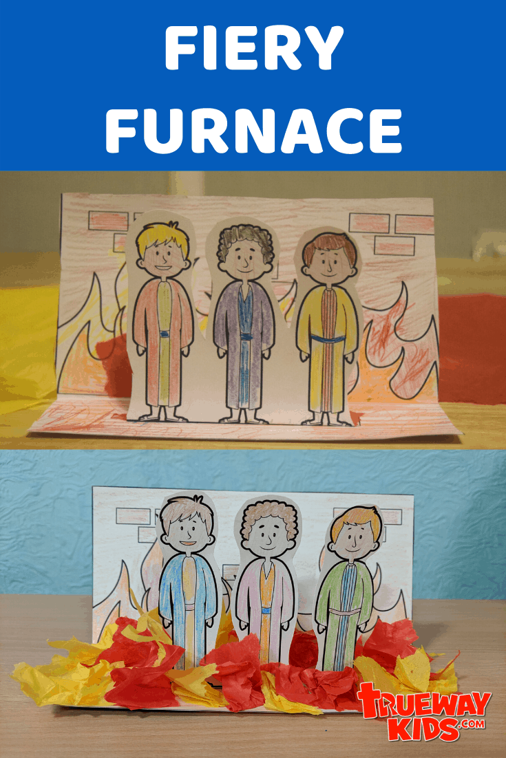 Easy Bible craft based on Daniel 3, Shadrach, Meshach, and Abednego and the Fiery Furnace. Free printable template