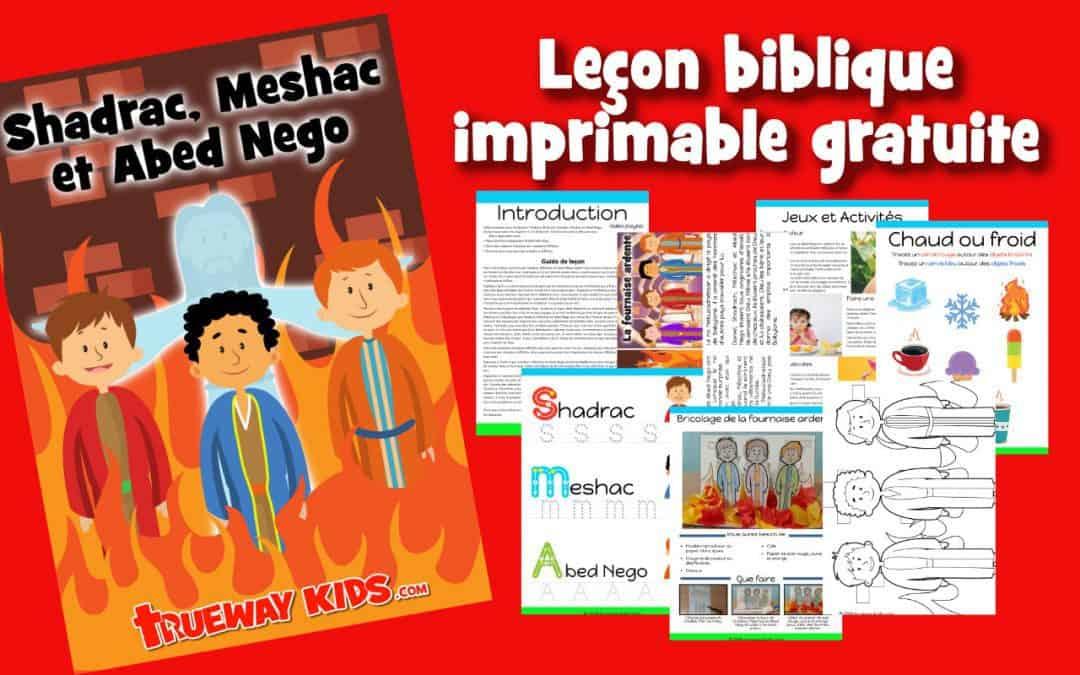Shadrac, Meshac et Abed Nego - Leçon biblique imprimable gratuite à utiliser à la maison ou à l'église