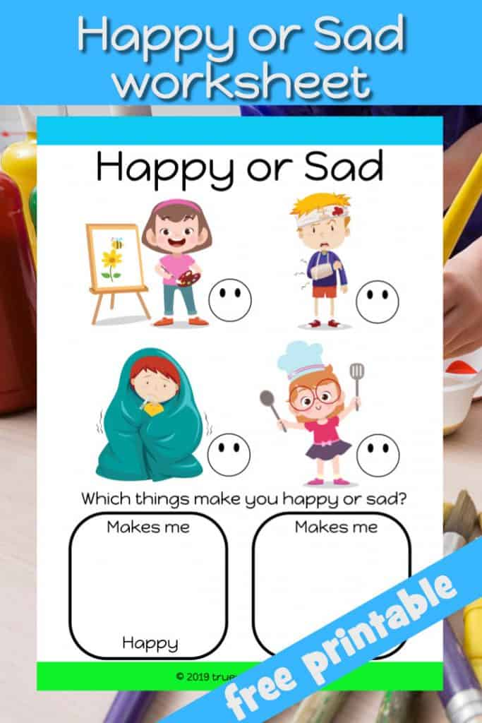 Happy or sad worksheet for kids. What things make your child happy or sad. match the faces. Free printable.