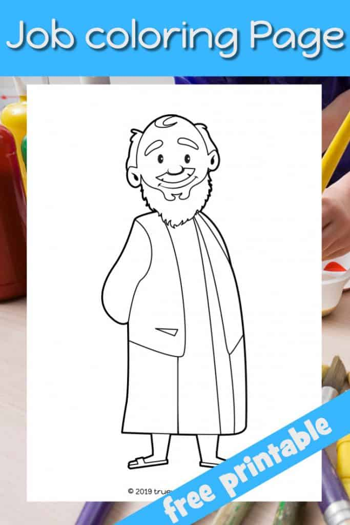 Job Bible coloring page. Man in Bible clothes. Free printable for kids.