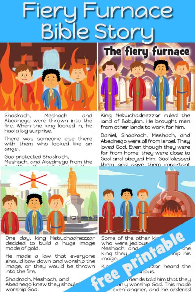Bible story of Shadrach, Meshach, and Abednego and the Fiery Furnace - free printable for preschool children