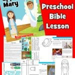 The Angel appears to Mary. Free printable Christmas lesson for kids. Includes Nativity houses, coloring pages, Bible games and activity. Christmas worship songs for kids, Angel craft and more.