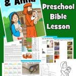 Simeon and Anna - Jesus presented in the temple, Luke 2. Free printable Bible lesson for preschoolers including games, worksheet, coloring pages and more.