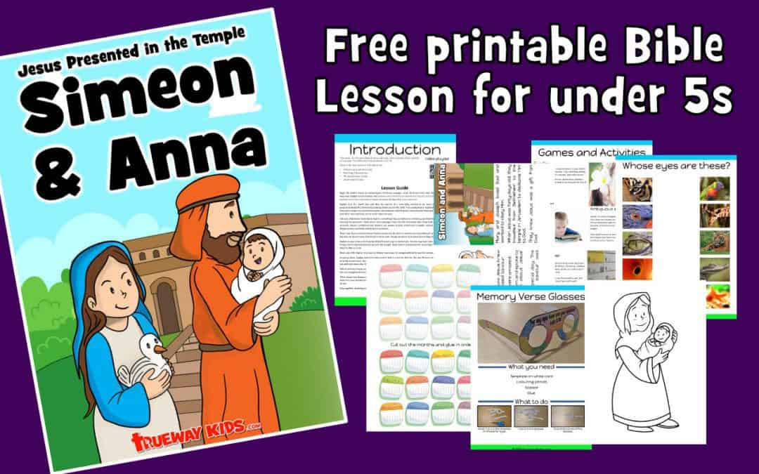 Simeon and Anna - Jesus presented in the temple. Free printable Bible lesson including games, worksheet, coloring pages and more