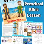 Free printable Bible lesson for preschoolers. Luke 5. Jesus calls Peter and The great catch. Includes free printable worksheets, coloring pages, craft, Bible games and activities for Sunday School or Home