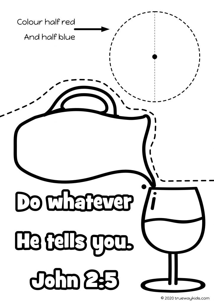 Water to wine Bible craft template