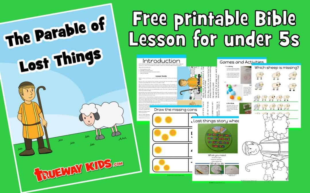 Free printable Bible lesson on Jesus' parables of lost things, focusing on the lost sheep and the lost coin. Includes worksheets, coloring, craft, story and more