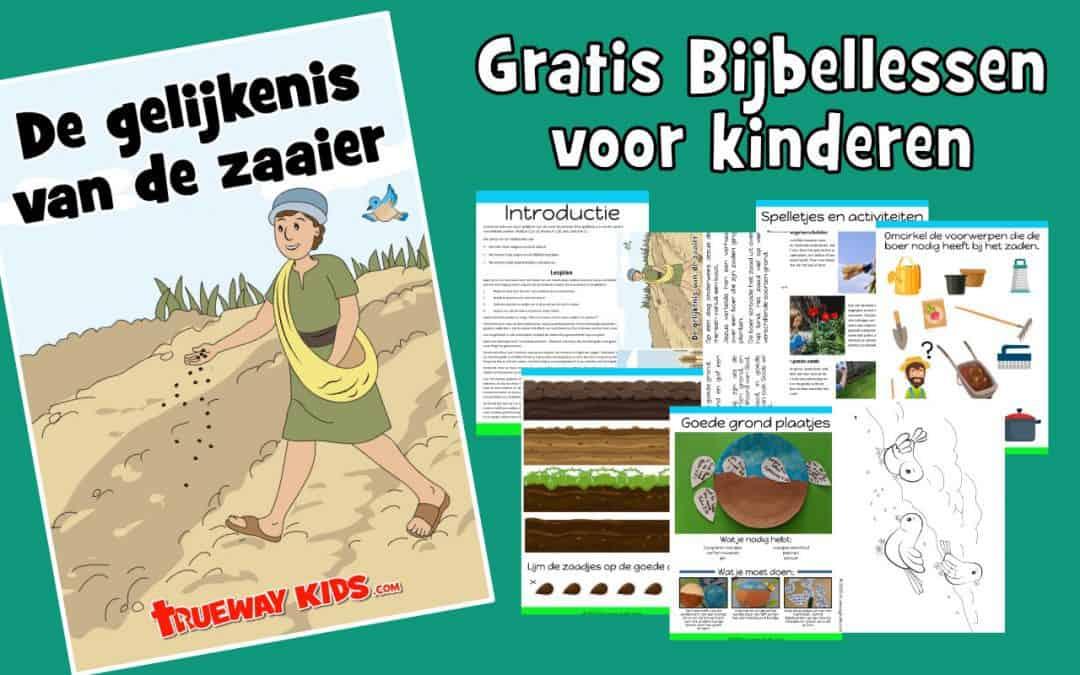Gratis afdrukbare bijbelles voor kinderen over de gelijkenis van de zaaier. Bevat games, werkbladen, knutselen, kleuren en meer.