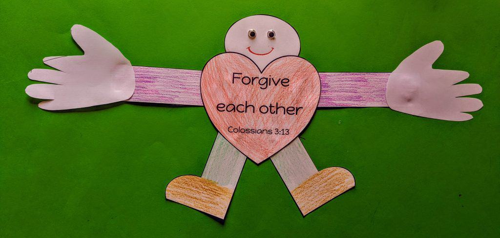 Forgive one another Bible craft - Free template included